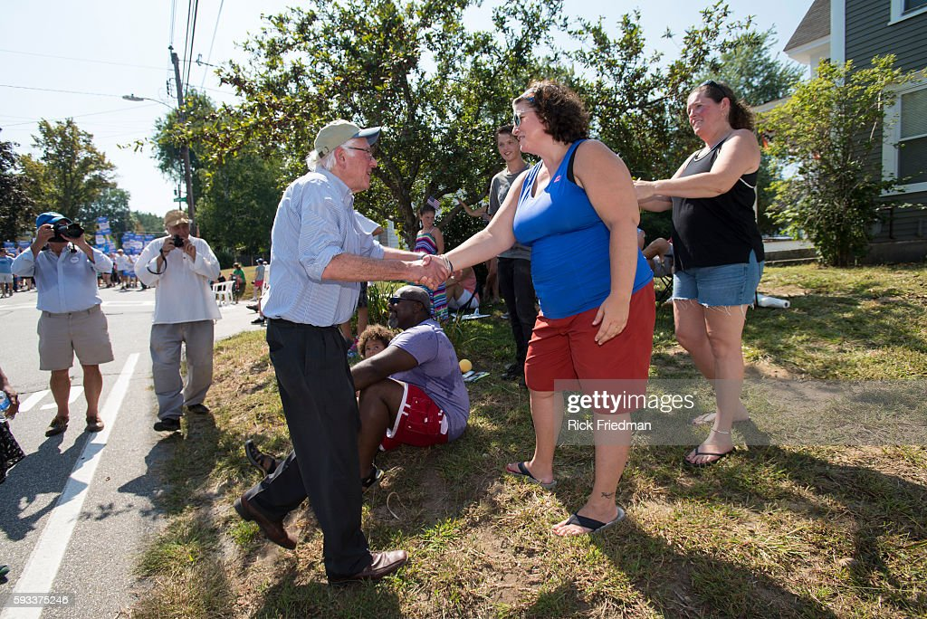 Democratic Presidential candidate Senator Bernie Sanders marching in the Milford NH Labor Day Parade on September 7 2015