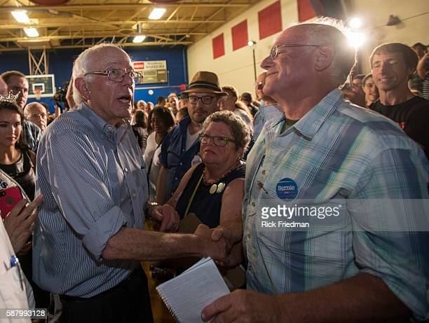 Democratic Presidential candidate Senator Bernie Sanders of Vermont speaking at a campaign rally in Salem NH on August 23 2015