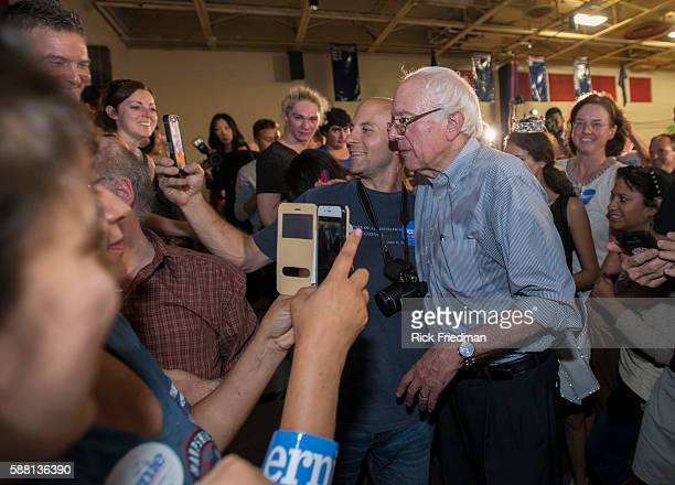 Democratic Presidential candidate Senator Bernie Sanders of Vermont greeting supporters at a campaign rally in Salem NH on August 23 2015