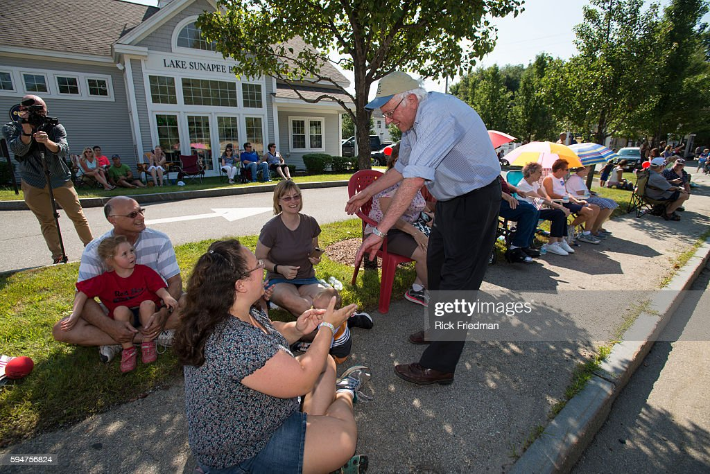 Democratic Presidential candidate Senator Bernie Sanders of Vermont marching in the Milford NH Labor Day Parade on September 7 2015