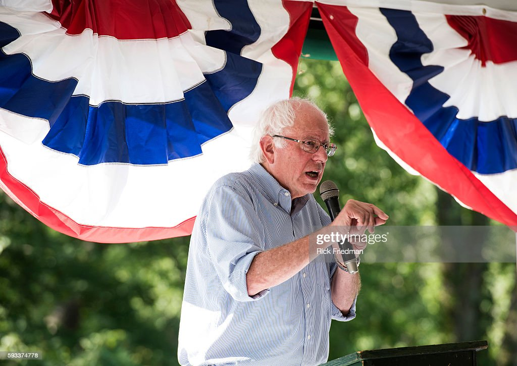 Democratic Presidential candidate Senator Bernie Sanders speaking at a Labor Day picnic at Amherst Country Club in Amherst NH on September 7 2015