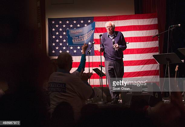 Democratic presidential candidate Senator Bernie Sanders speaks at a concert he was hosting to raise support for his campaign at the Adler Theater on...