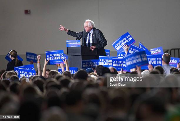 Democratic presidential candidate Senator Bernie Sanders speaks at a campaign rally at the Alliant Energy Center on March 26 2016 in Madison...