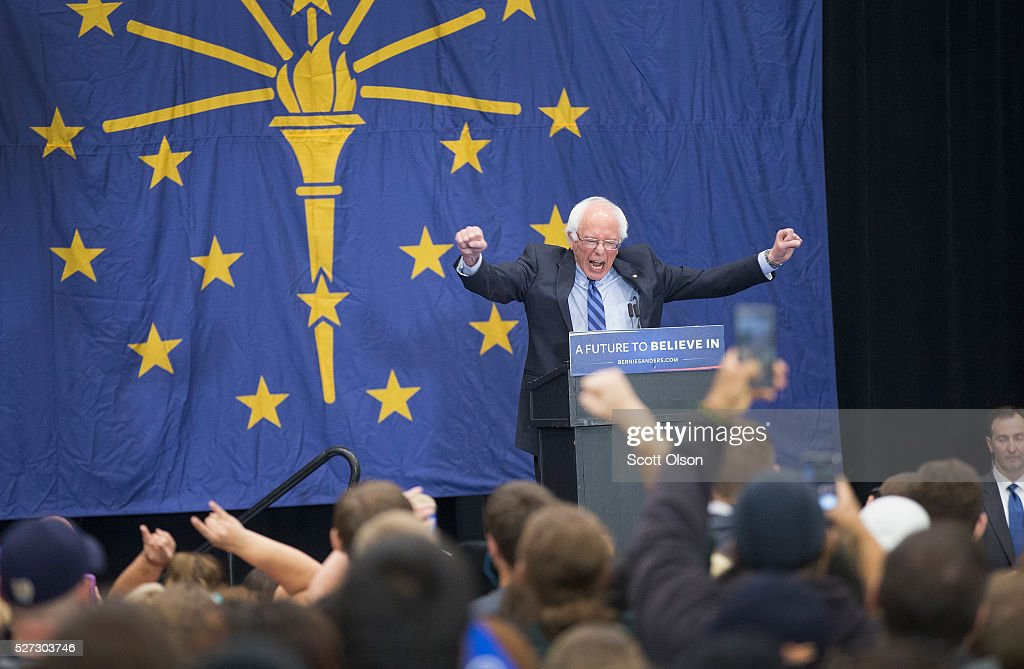 Democratic presidential candidate Senator Bernie Sanders (D-VT) speaks at a campaign event on the campus of Indiana University - Purdue University Fort Wayne May 2, 2016 in Fort Wayne, Indiana. Voters in Indiana go to the polls tomorrow for the state's primary.