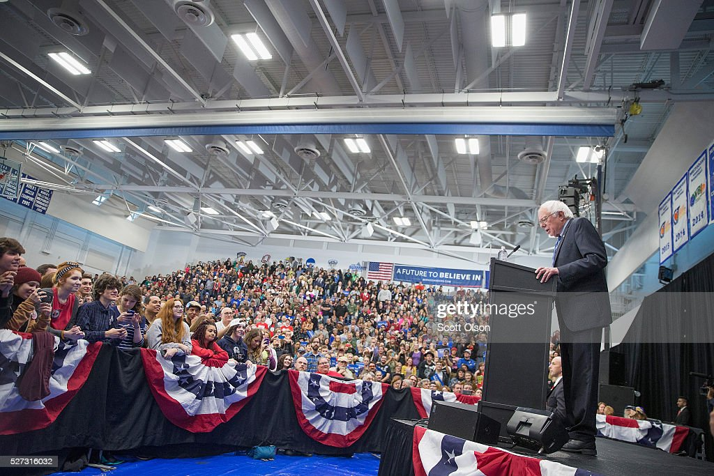 Democratic presidential candidate Senator <a gi-track='captionPersonalityLinkClicked' href=/galleries/search?phrase=Bernie+Sanders&family=editorial&specificpeople=2908340 ng-click='$event.stopPropagation()'>Bernie Sanders</a> (D-VT) speaks at a campaign event on the campus of Indiana University - Purdue University Fort Wayne May 2, 2016 in Fort Wayne, Indiana. Voters in Indiana go to the polls tomorrow for the state's primary.
