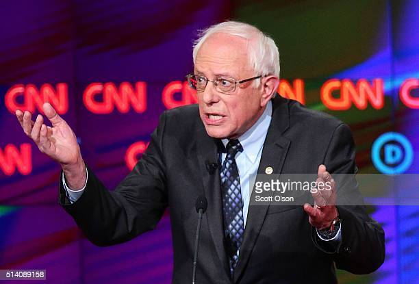 Democratic presidential candidate Senator Bernie Sanders speaks during the CNN Democratic Presidential Primary Debate with candidate Hillary Clinton...