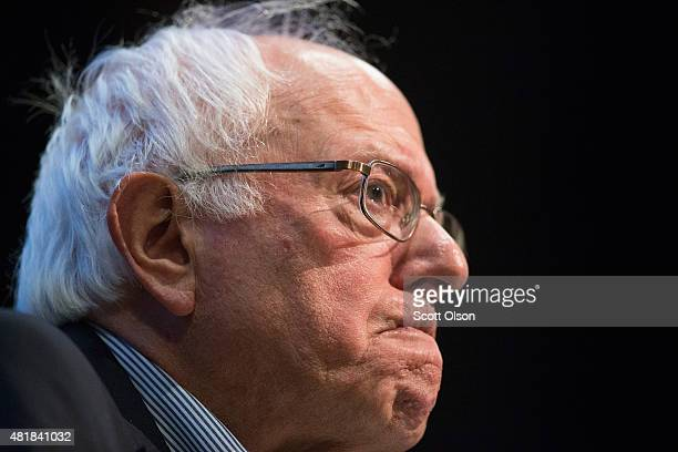 Democratic presidential candidate Senator Bernie Sanders speaks to guests at a town hall meeting at Valley High School on July 24 2015 in West Des...