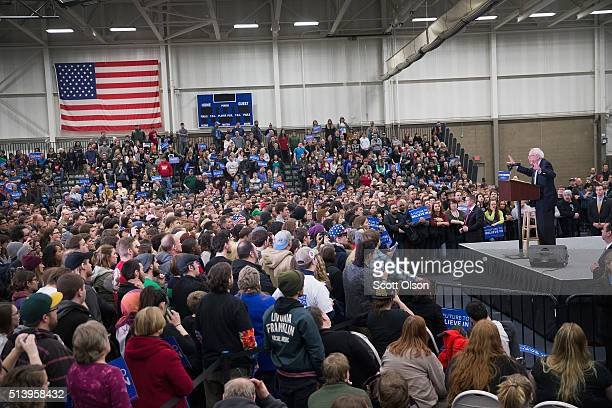 Democratic presidential candidate Senator Bernie Sanders speaks to guests during a rally at Macomb Community College on March 5 2016 in Warren...