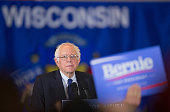 Democratic presidential candidate Senator Bernie Sanders speaks to guests at a campaign rally at the Wisconsin Convention Center on April 4 2016 in...