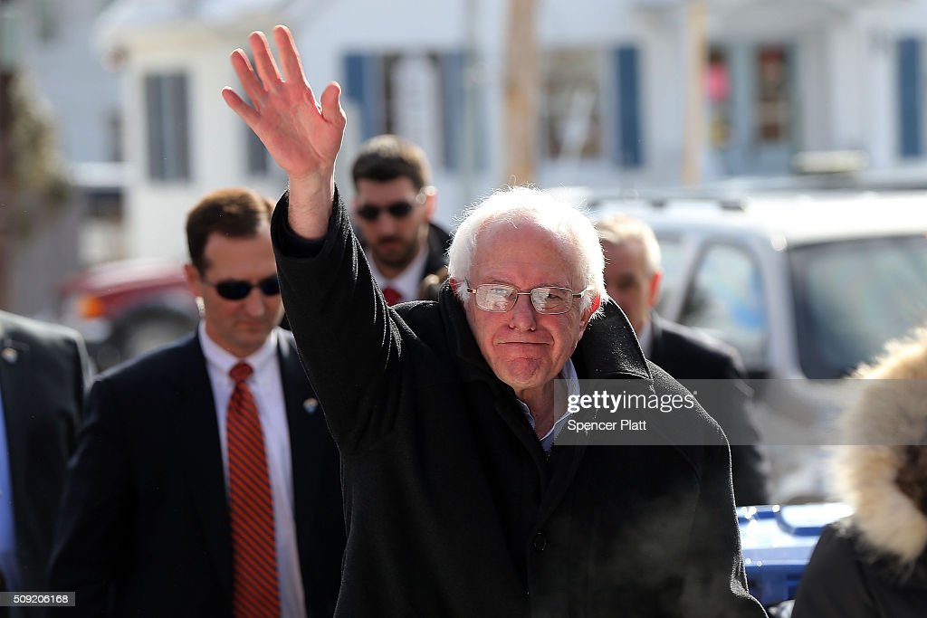 Bernie Sanders Campaigns On New Hampshire Primary Day In Concord, NH
