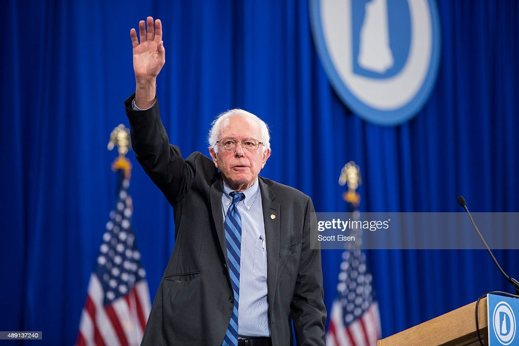 Democratic Presidential candidate Senator <a gi-track='captionPersonalityLinkClicked' href=/galleries/search?phrase=Bernie+Sanders&family=editorial&specificpeople=2908340 ng-click='$event.stopPropagation()'>Bernie Sanders</a> (I-VT) waves while leaving stage during the New Hampshire Democratic Party State Convention on September 19, 2015 in Manchester, New Hampshire. Five Democratic presidential candidates are all expected to address the crowd inside the Verizon Wireless Arena.