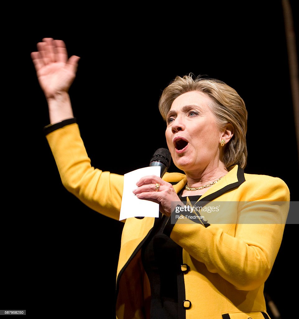 Democratic presidential candidate Senator Hillary Rodham Clinton addresses the crowd at 'An Evening with Hillary' Low Dollar Fundraising Reception at...