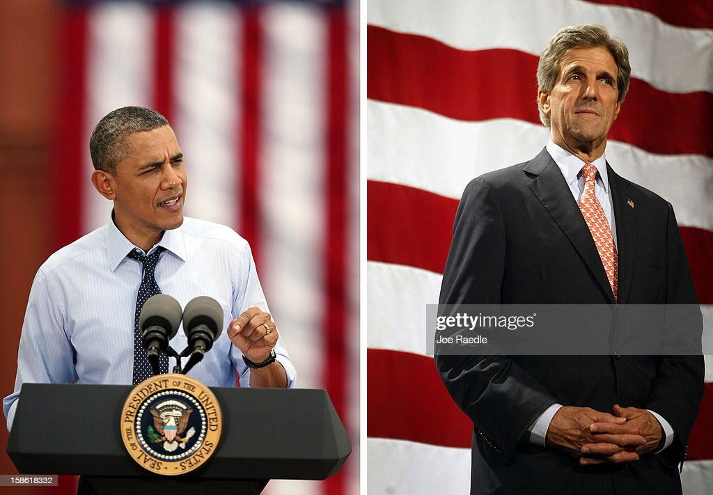 In this composite image a comparison has been made between US President Barack Obama (L) and John Kerry. Obama named Sen. John Kerry (D-MA) as the next US Secretary Of State replacing outgoing Secretary of State Hillary Clinton. SEATTLE - AUGUST 27: Democratic presidential candidate Senator John Kerry (D-MA) speaks to supporters at a fundraiser August 27, 2004 in Seattle, Washington. Kerry was in Washington making some final campaign stops before taking a break during the Republican National Convention.