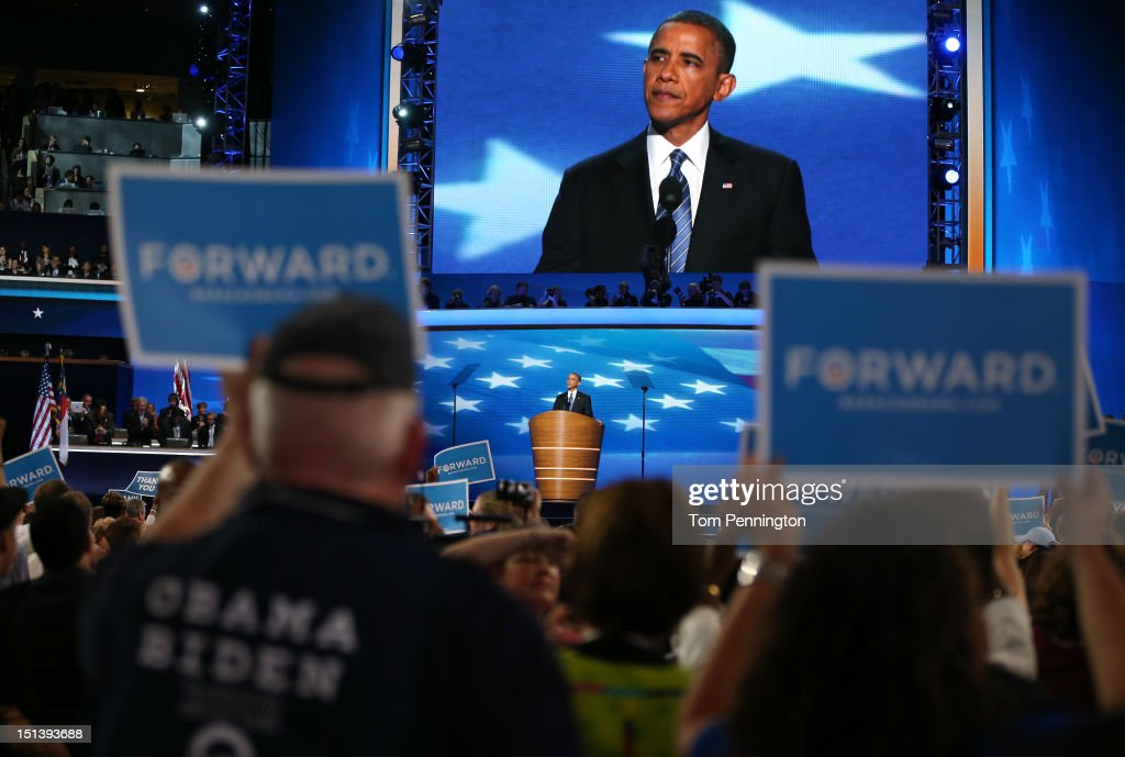 Democratic presidential candidate, U.S. President <a gi-track='captionPersonalityLinkClicked' href=/galleries/search?phrase=Barack+Obama&family=editorial&specificpeople=203260 ng-click='$event.stopPropagation()'>Barack Obama</a> speaks on stage as he accepts the nomination for president during the final day of the Democratic National Convention at Time Warner Cable Arena on September 6, 2012 in Charlotte, North Carolina. The DNC, which concludes today, nominated U.S. President <a gi-track='captionPersonalityLinkClicked' href=/galleries/search?phrase=Barack+Obama&family=editorial&specificpeople=203260 ng-click='$event.stopPropagation()'>Barack Obama</a> as the Democratic presidential candidate.