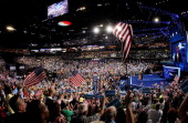 Democratic presidential candidate US President Barack Obama speaks on stage after accepting the nomination during the final day of the Democratic...