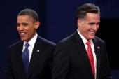 Democratic presidential candidate US President Barack Obama walks away from Republican presidential candidate former Massachusetts Gov Mitt Romney...