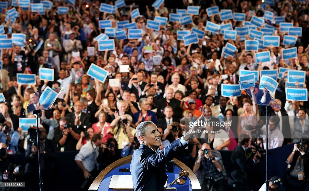 Democratic presidential candidate, U.S. President <a gi-track='captionPersonalityLinkClicked' href=/galleries/search?phrase=Barack+Obama&family=editorial&specificpeople=203260 ng-click='$event.stopPropagation()'>Barack Obama</a> waves on stage as he accepts the nomination for president during the final day of the Democratic National Convention at Time Warner Cable Arena on September 6, 2012 in Charlotte, North Carolina. The DNC, which concludes today, nominated U.S. President <a gi-track='captionPersonalityLinkClicked' href=/galleries/search?phrase=Barack+Obama&family=editorial&specificpeople=203260 ng-click='$event.stopPropagation()'>Barack Obama</a> as the Democratic presidential candidate.