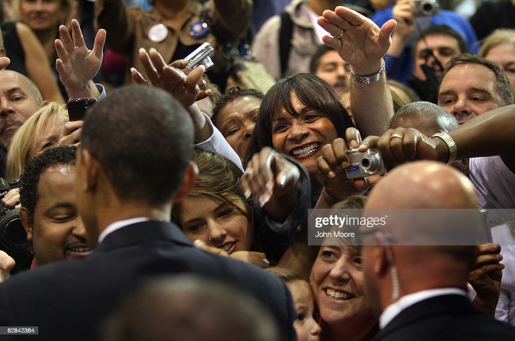 Democratic presidential candidate US Sen Barack Obama greets supporters at a campaign rally at the Colorado School of Mines' Lockridge Arena...