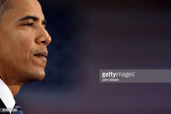 Democratic presidential candidate US Sen Barack Obama pauses as he addresses supporters at a campaign rally at the Colorado School of Mines'...