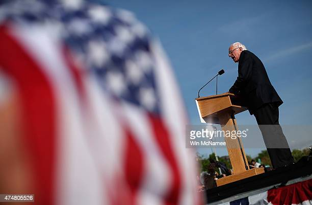 Democratic presidential candidate US Sen Bernie Sanders delivers remarks while officially announcing his candidacy for the US presidency during an...