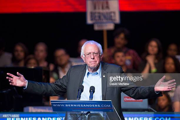 Democratic presidential candidate US Sen Bernie Sanders speaks at a campaign fundraising reception at the Avalon Hollywood nightclub on October 14...