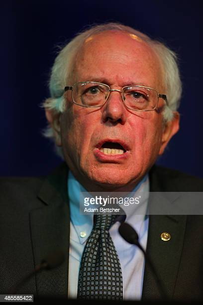 Democratic Presidential candidate US Sen Bernie Sanders speaks at the Democratic National Committee summer meeting on August 28 2015 in Minneapolis...