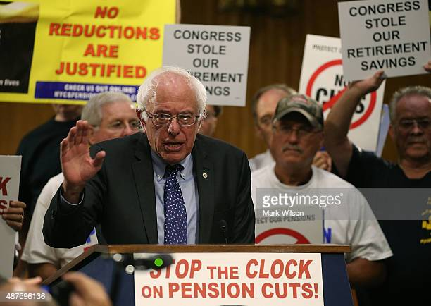 Democratic Presidential candidate US Sen Bernie Sanders speaks during a rally with the International Brotherhood of Teamsters on Capitol Hill...
