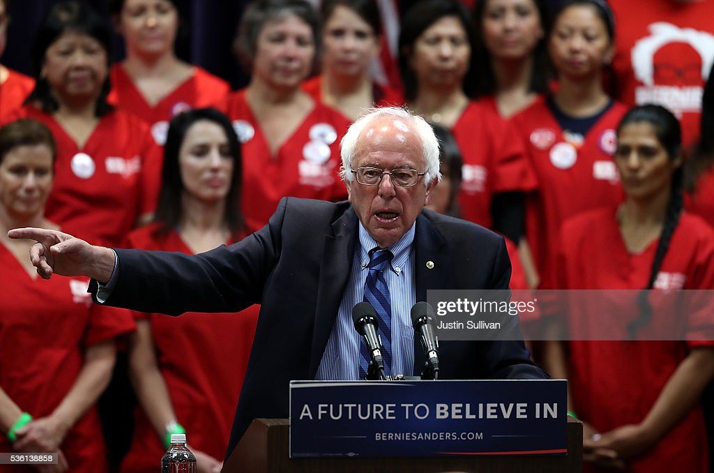 Democratic presidential candidate U.S. Sen. <a gi-track='captionPersonalityLinkClicked' href=/galleries/search?phrase=Bernie+Sanders&family=editorial&specificpeople=2908340 ng-click='$event.stopPropagation()'>Bernie Sanders</a> (I-VT) speaks during a press conference on health care on May 31, 2016 in Emeryville, California. <a gi-track='captionPersonalityLinkClicked' href=/galleries/search?phrase=Bernie+Sanders&family=editorial&specificpeople=2908340 ng-click='$event.stopPropagation()'>Bernie Sanders</a> is campaigning in Northern California ahead of the State's presidential primary on June 7th.