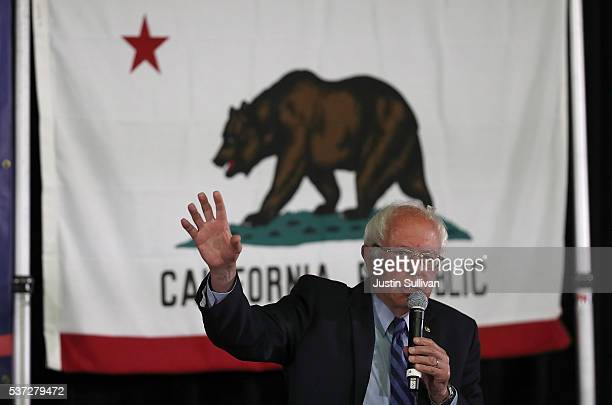 Democratic presidential candidate US Sen Bernie Sanders speaks during a panel with AsianAmericans and Pacific Islanders at Cubberley Community Center...