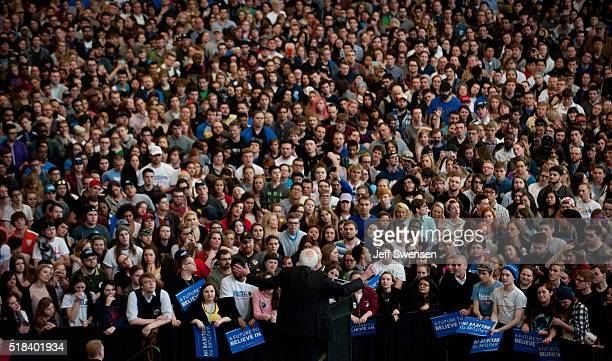 Democratic presidential candidate US Sen Bernie Sanders speaks to supporters at the David L Lawrence Convention Center on March 31 2016 in Pittsburgh...