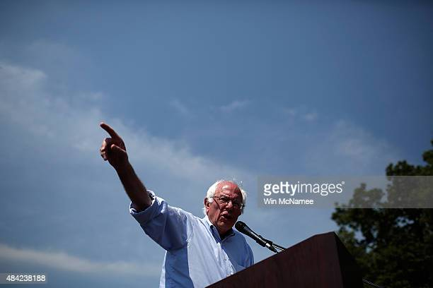 Democratic presidential candidate US Sen Bernie Sanders speaks while campaigning on August 16 2015 in Eldridge Iowa Sanders has a full day of...