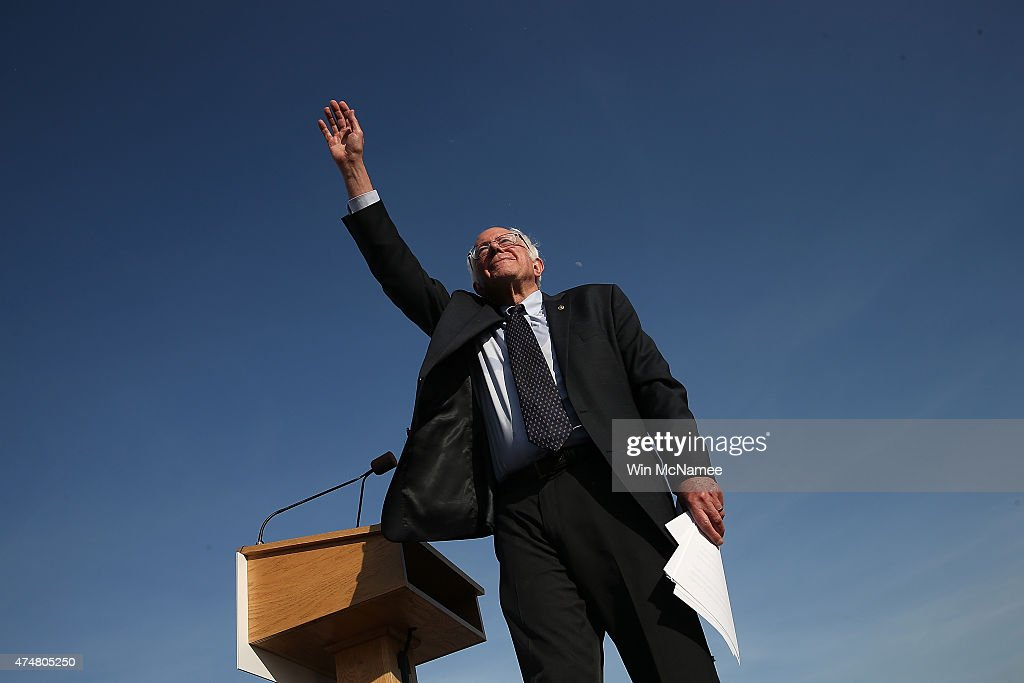Democratic presidential candidate U.S. Sen. <a gi-track='captionPersonalityLinkClicked' href=/galleries/search?phrase=Bernie+Sanders&family=editorial&specificpeople=2908340 ng-click='$event.stopPropagation()'>Bernie Sanders</a> (I-VT) waves to supporters after officially announcing his candidacy for the U.S. presidency during an event at Waterfront Park May 26, 2015 in Burlington, Vermont. Sanders will run as a Democrat in the presidential election and is former Secretary of State Hillary Clinton's first challenger for the Democratic nomination.