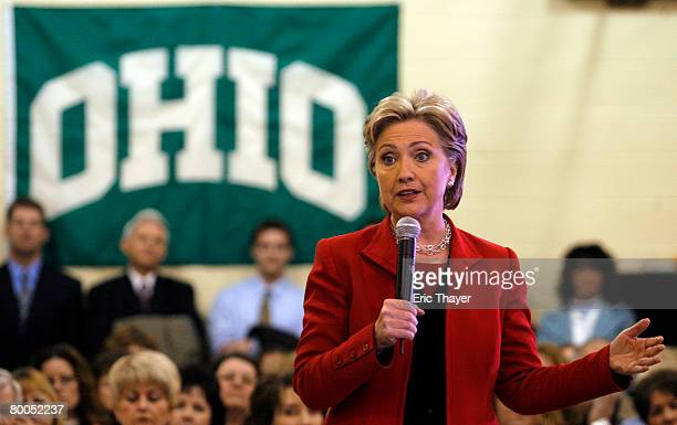Democratic presidential candidate US Sen Hillary Clinton speaks at Ohio University Southern Campus Child Development Center February 28 2008 in...