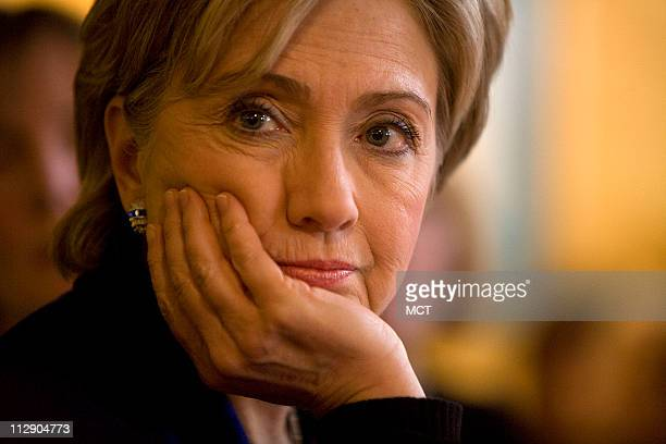 Democratic presidential candidate US Senator Hillary Clinton listens to voters at a campaign stop in Portsmouth New Hampshire January 7 2008