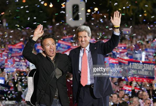 Democratic presidential candidate US Senator John Kerry and musician Bruce Springsteen greet supporters during a rally at Ohio State University...