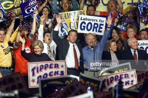Democratic Presidential candidate US Vice President Al Gore his running mate Senator Joe Lieberman their wives Tipper and Hadassah and US Senator...