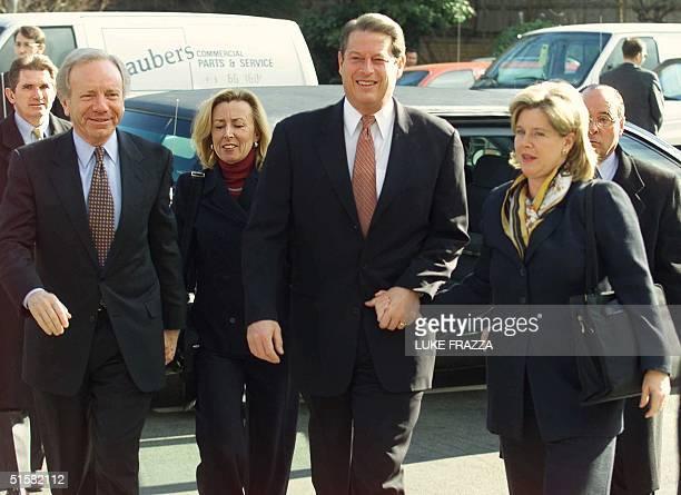Democratic presidential candidate US Vice President Al Gore his wife Tipper running mate US Senator Joe Lieberman and Lieberman's wife Hadassah...