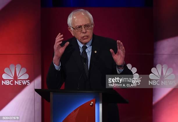 Democratic presidential candidate Vermont Senator Bernie Sanders participates in the NBC News YouTube Democratic Candidates Debate on January 17 2016...