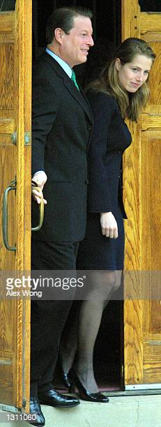 Democratic presidential candidate Vice President Al Gore leaves the Mt Vernon Baptist Church with his daughter Kristin December 10 2000 after...