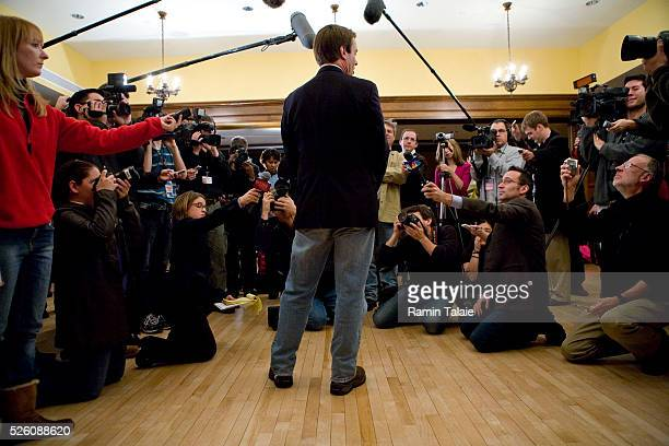 Democratic Presidential candidateJohn Edwards speaks to the media during a campaign rally at Iowa State University in Ames