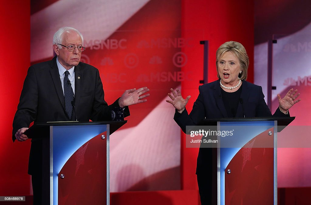 Democratic presidential candidates former Secretary of State Hillary Clinton and US Sen Bernie Sanders during their MSNBC Democratic Candidates...