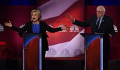 Democratic presidential candidates Hillary Clinton and Bernie Sanders participate in the NBC News YouTube Democratic Candidates Debate on January 17...