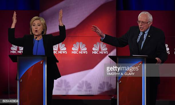 TOPSHOT Democratic presidential candidates Hillary Clinton and Bernie Sanders participate in the NBC News YouTube Democratic Candidates Debate on...