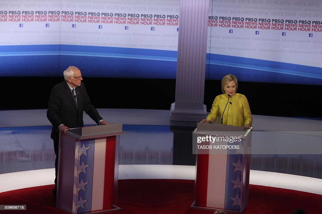 US Democratic presidential candidates Hillary Clinton and Bernie Sanders participate in the PBS NewsHour Presidential Primary Debatein Milwaukee...
