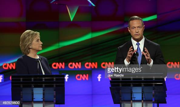 Democratic presidential candidates Hillary Clinton and Martin O'Malley take part in a presidential debate sponsored by CNN and Facebook at Wynn Las...
