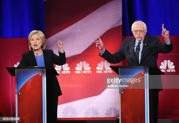 Democratic presidential candidates Hillary Clinton and Senator Bernie Sanders participate in the Democratic Candidates Debate hosted by NBC News and...