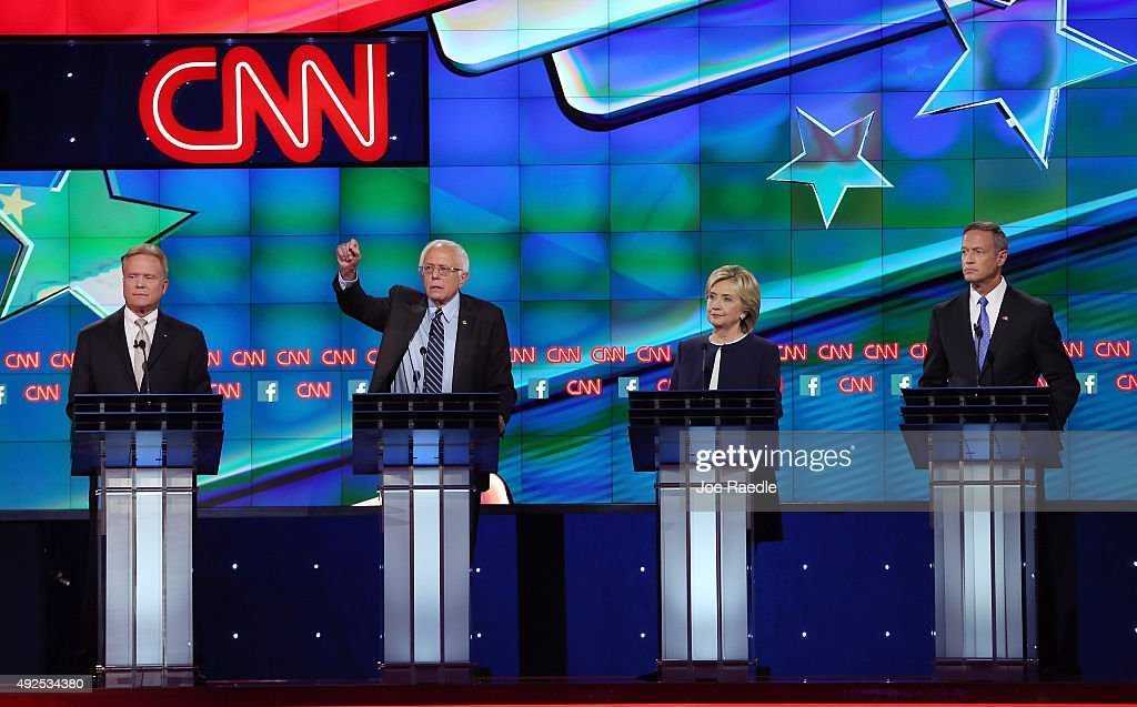 Democratic presidential candidates Jim Webb Sen Bernie Sanders Hillary Clinton and Martin O'Malley take part in presidential debate sponsored by CNN...