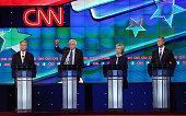 Democratic presidential candidates Jim Webb Sen Bernie Sanders Hillary Clinton and Martin O'Malley take part in presidential debate sponsored by CNN...