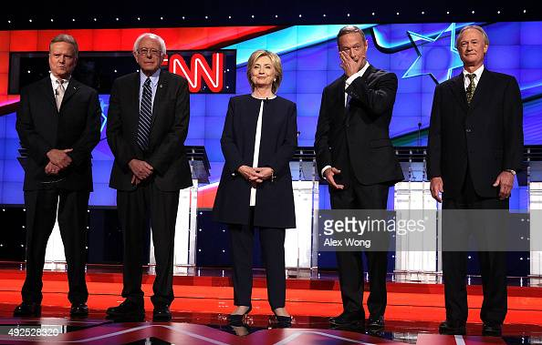 Democratic presidential candidates Jim Webb Sen Bernie Sanders Hillary Clinton Martin O'Malley and Lincoln Chafee take the stage for a Democratic...