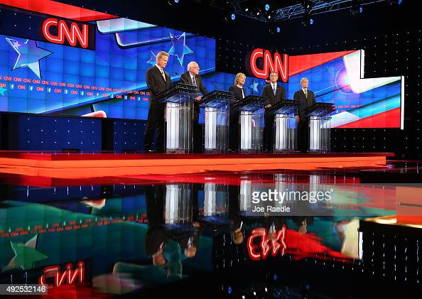 Democratic presidential candidates Jim Webb Sen Bernie Sanders Hillary Clinton Martin O'Malley and Lincoln Chafee take part in presidential debate...